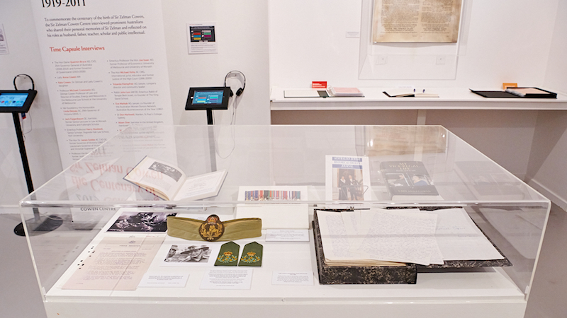 Plinth displaying documents at the Sir Zelman Cowen exhibition