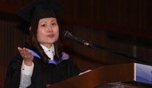 Image of valedictorian giving speech at Malaysian Graduation Ceremony
