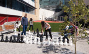 Students at Footscray Park campus playing chess