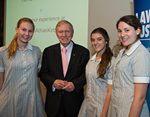 Students posing with Michael Kirby