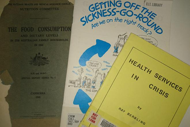 pamphlets on display, including health services reports