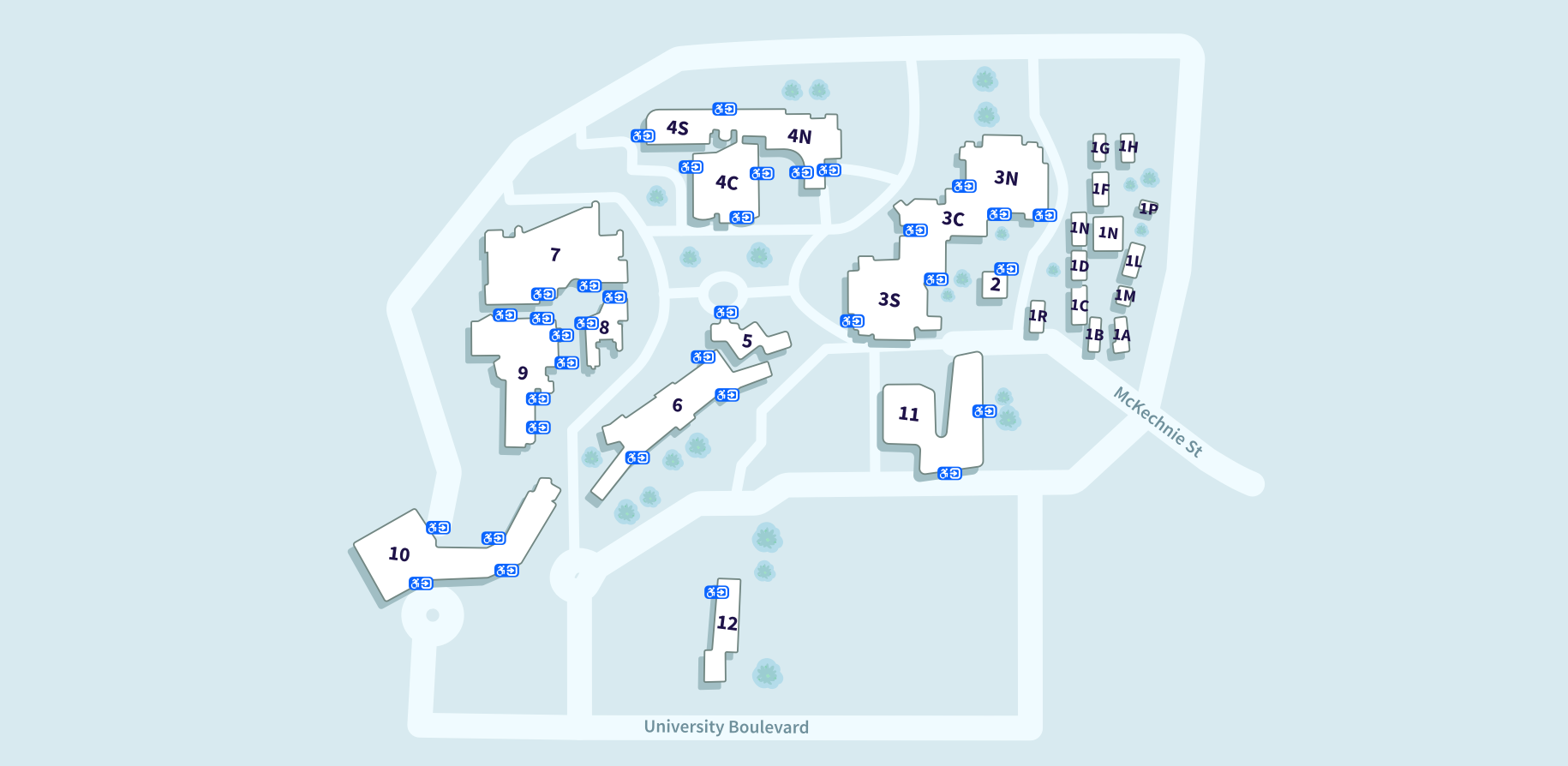 VU St Albans Campus map showing the buildings and their accessible entrances, from lowest number to highest: 1A, 1B, 1C, 1D, 1F, 1G, 1H, 1L, 1M, 1R, 1P, 2, 3S, 3C, 3N, 4S, 4C, 4N, 5, 6, 7, 8, 9, 10, 11. Building 1 has no accessible entrances shown.