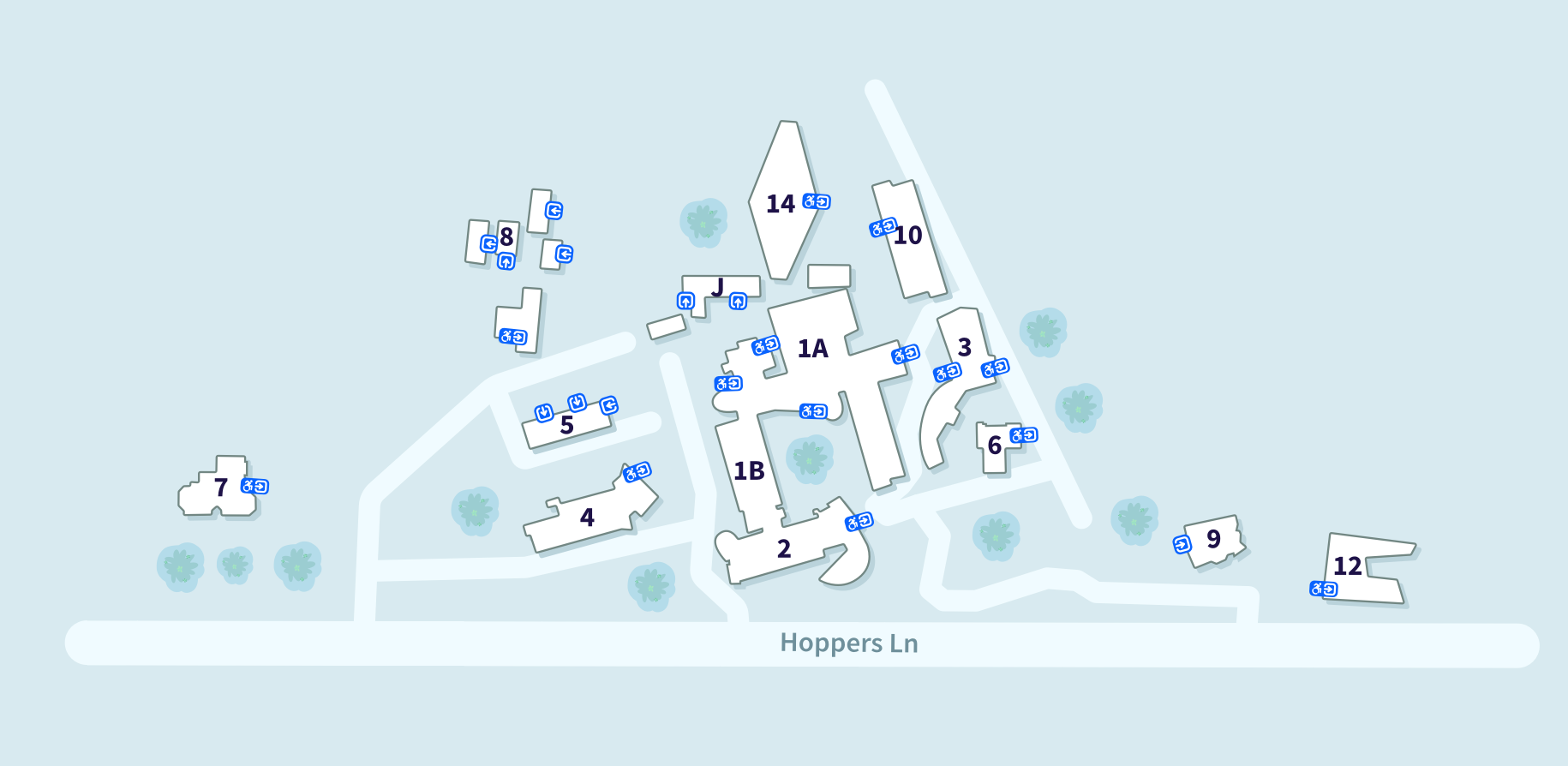 VU Werribee Campus map showing the following buildings and their accessible entrances, from L-R: 7, 8, 5, 4, J, 14, 1B, 2, 1A, 10, 3, 6, 9, 12. Buildings 8, 5, J and 9 have no accessible entrances shown.