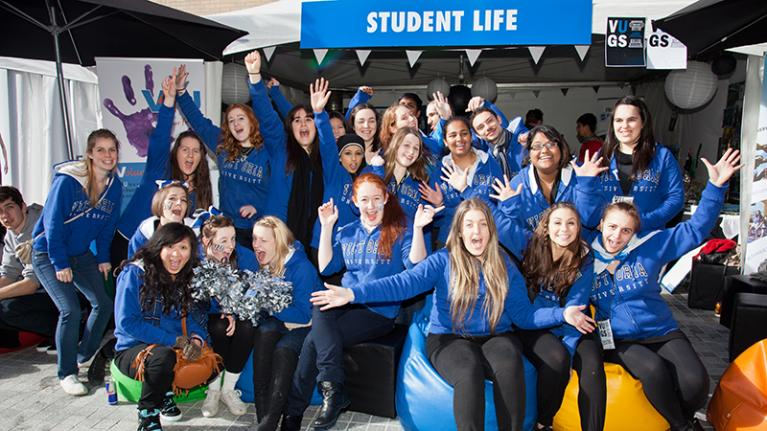 student life group at vu open day