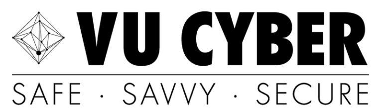 VU Cyber logo - safe, savvy, secure