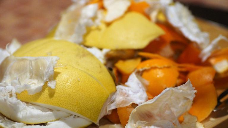 Food waste, mainly citrus peelings