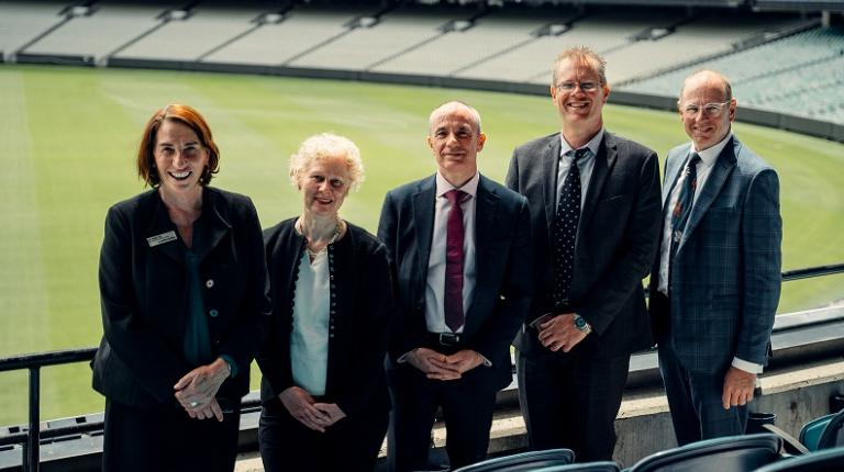 Dr Joanne Pyke, with masterclass contributors at MCG