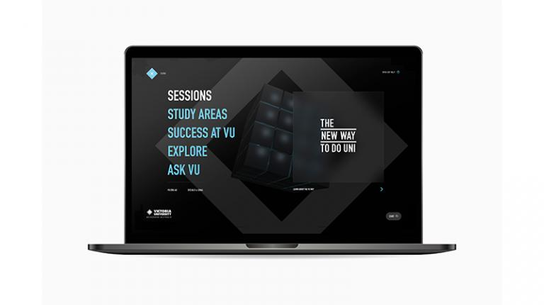 Laptop screen with copy in VU brand colour: Sessions, Study at VU, Explore, Ask VU and logo 'The New Way to do Unit'