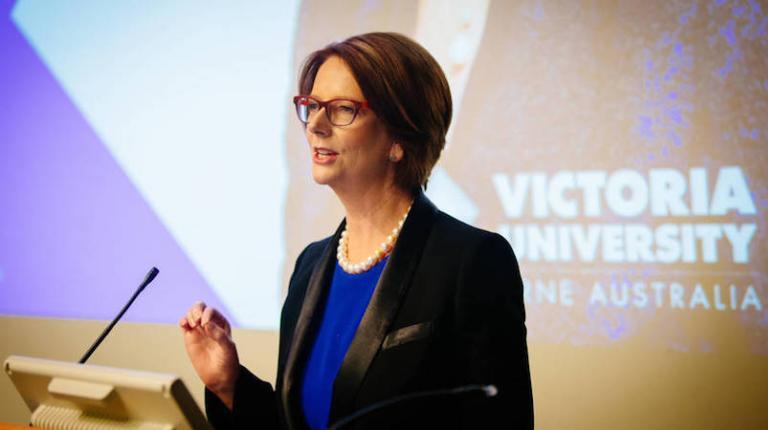 The Hon. Julia Gillard presenting at the Michael Kirby Oration