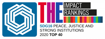 THE Impact Ranking logo, SDG16 Peace, Justice and Strong Institutions, 2020 Top 40