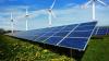 Renewable energy, wind turbines and solar panels.