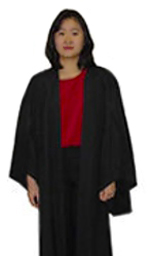 Student models an undergraduate gown
