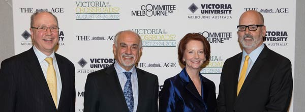 Julia Gillard with Peter Dawkins, George Pappas and Andrew Holden
